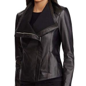 Lauren Ralph Lauren Drape Front Leather jacket